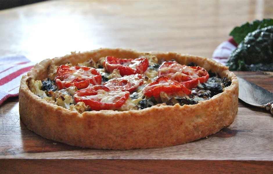 Kale – Cauliflower Tart in a Cheddar Crust