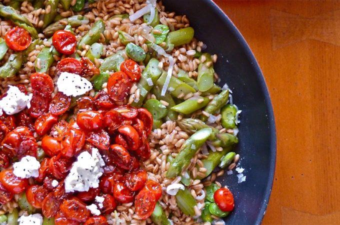 Warm Farro Salad with Spring Vegetables - slider