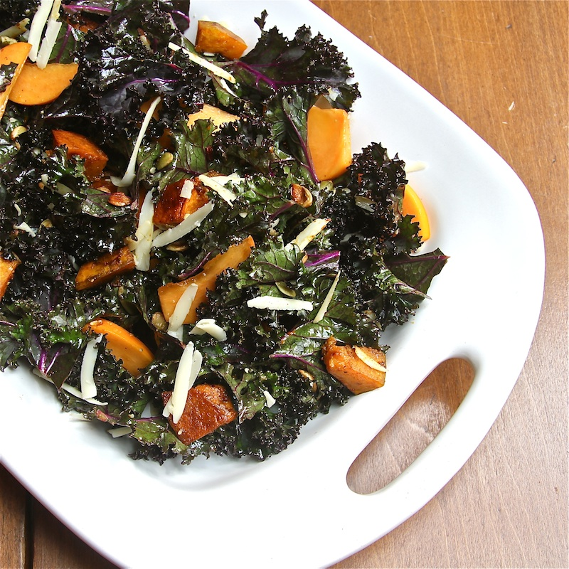 Kabocha and Kale Salad with Persimmon