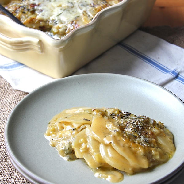 Potato and Fennel Gratin with Leek Confit-The Wimpy Vegetarian
