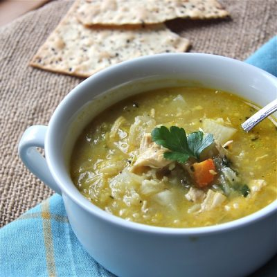 Comforting, cooking for a crowd, kid-friendly, hardy soup packed with vegetables, rice and chicken for satisfying lunch.