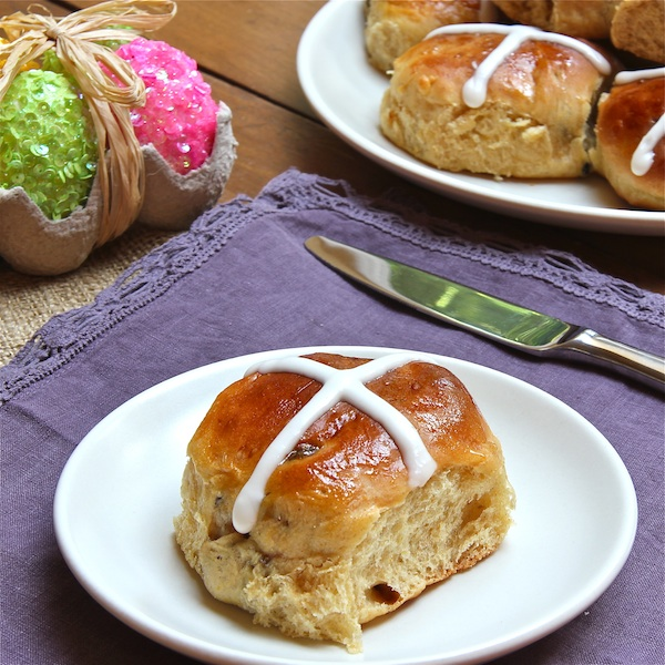 Good Friday traditional treat, hot cross buns is a sweet yeasted bread with currants