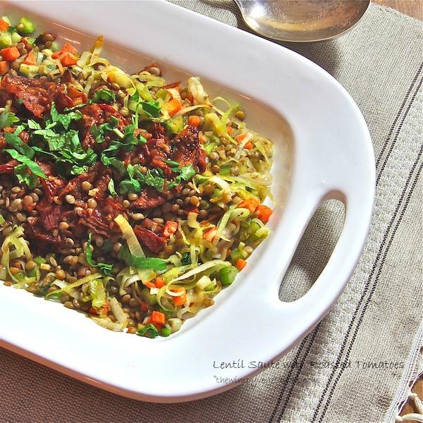 vegan Lentil saute with umbrian lentils, roasted balsamic tomatoes and leeks,