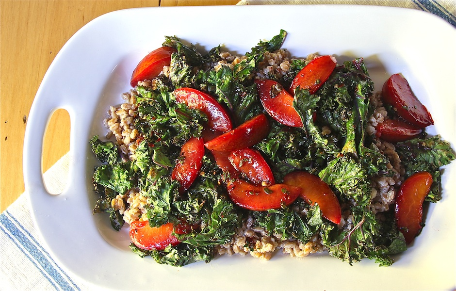 Warm Ricotta Farro Salad with Grilled Kale & Plums