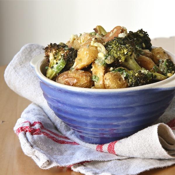 gribiche, broccoli and fingerling potato salad