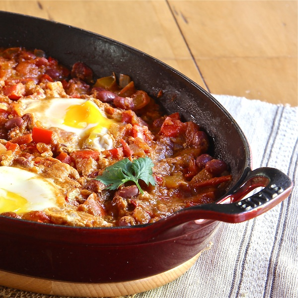 Vegetarian Moroccan Bean Chili with Poached Eggs