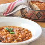 vegan Middle Eastern stew with charred eggplant and chickpeas