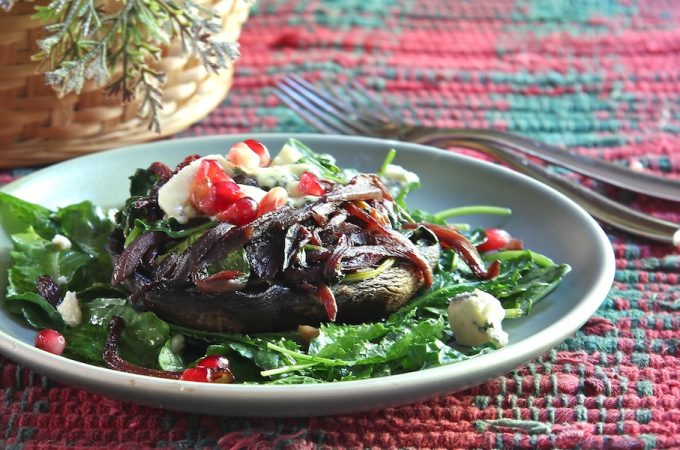 Portabellas Stuffed with Cabernet Onions and Spinach