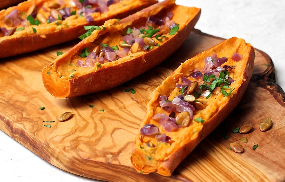 Sweet Potato Skins with Caramelized Onions
