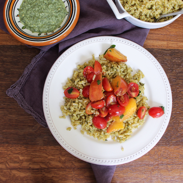 Classic Green Mint Chutney Rice with Tomatoes and Nectarines