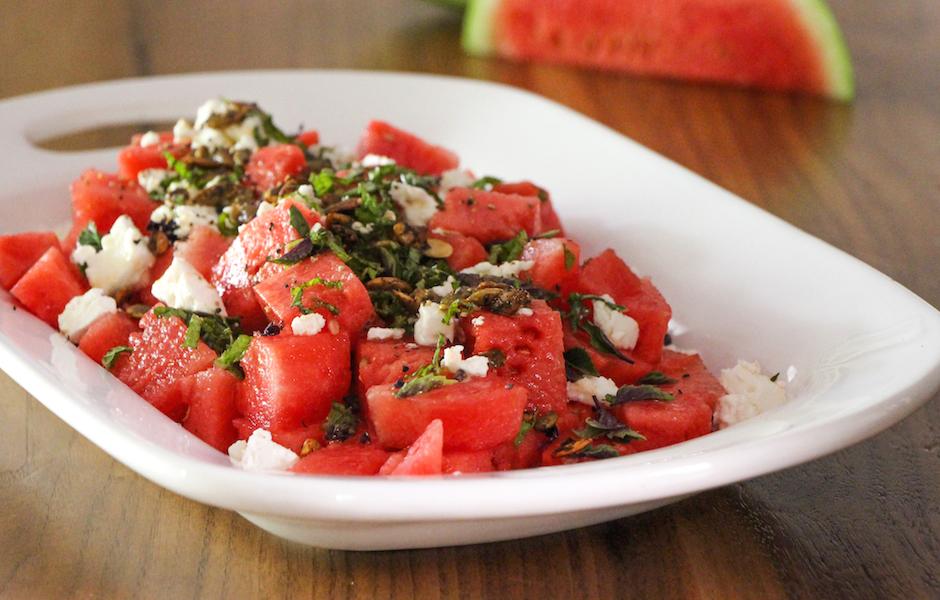 Watermelon Salad with Feta and Verjus Vinaigrette