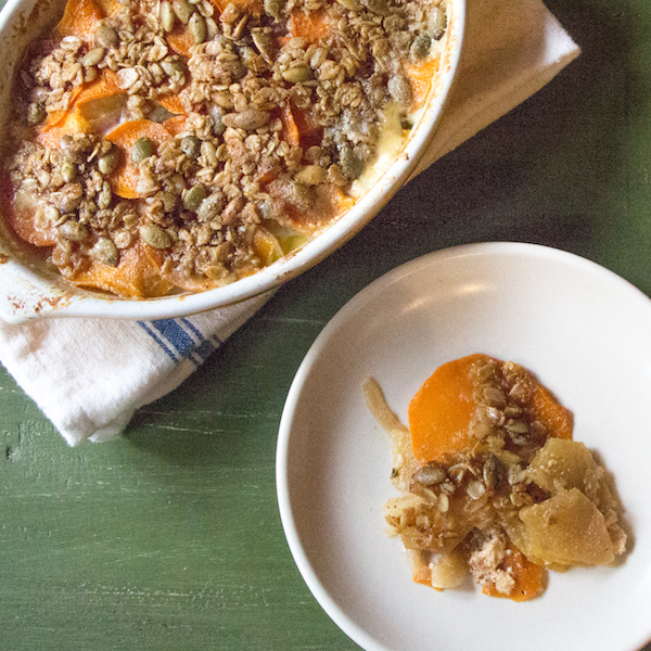 Thanksgiving side, Scalloped Sweet Potatoes and Apples with gorgonzola