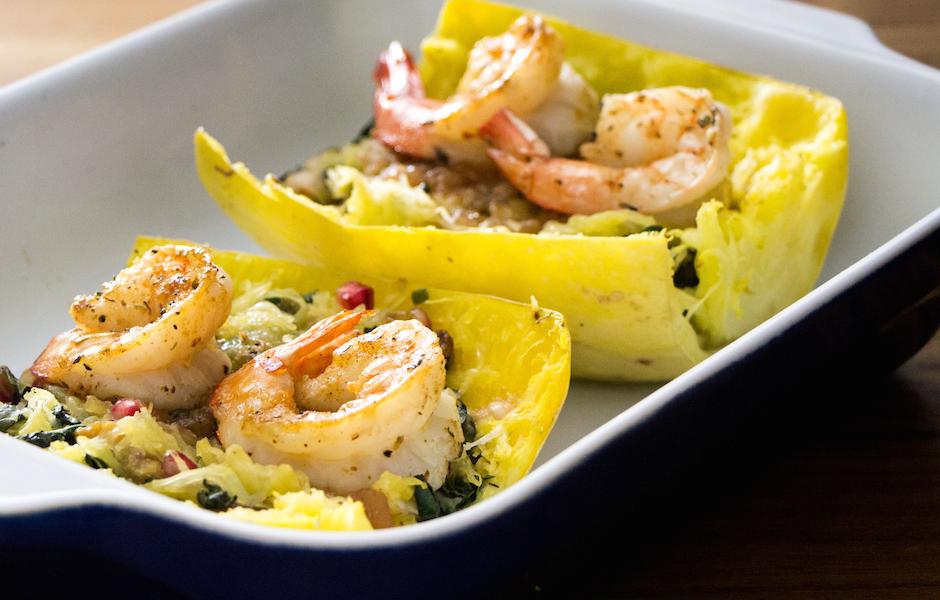 Spaghetti Squash with Shrimp, Pears and Kale: #SundaySupper