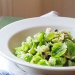 Warm salad with Brussels sprouts and caramelized onions.