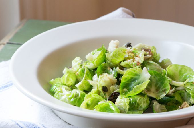 Vegetarian Thanksgiving Warm Brussels Sprouts Salad with caramelized red onions