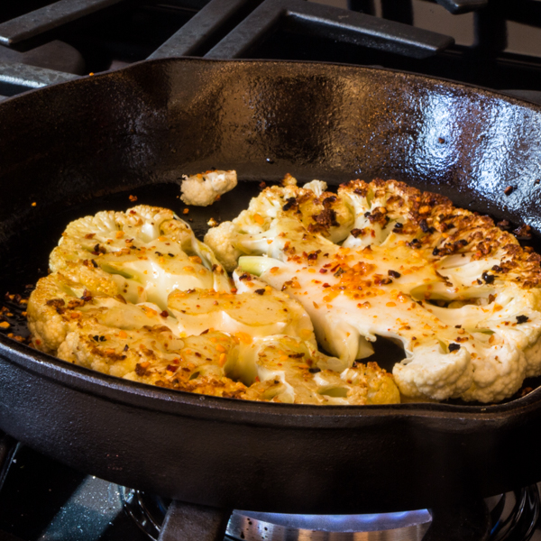 seared cauliflower with peppers and onions and McCormick's Skillet Sauce