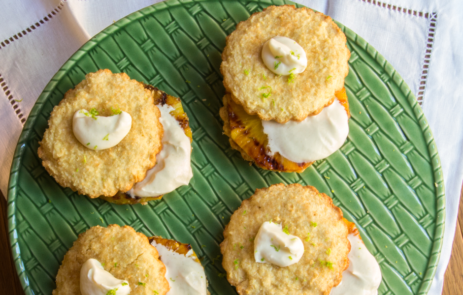 Coconut Shortcakes with Grilled Pineapple: #SundaySupper