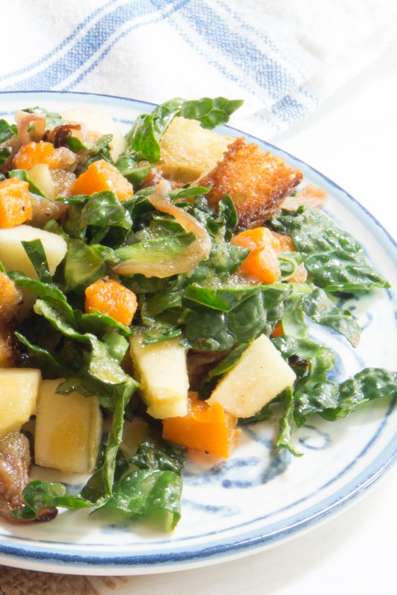 Butternut Squash-Apple-Kale Panzanella