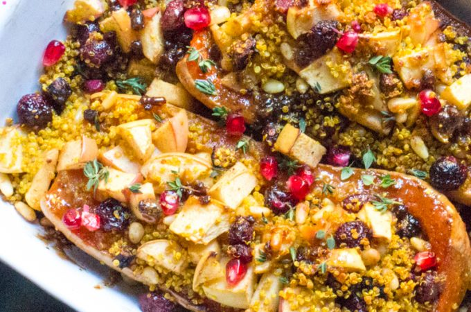 Fig Basted Roast Butternut Squash with Quinoa, Apple, and Fig Stuffing | #SundaySupper