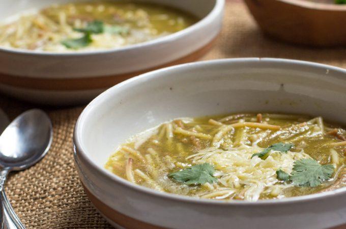 Sopa de Fideo Verde (Green Spaghetti Soup)