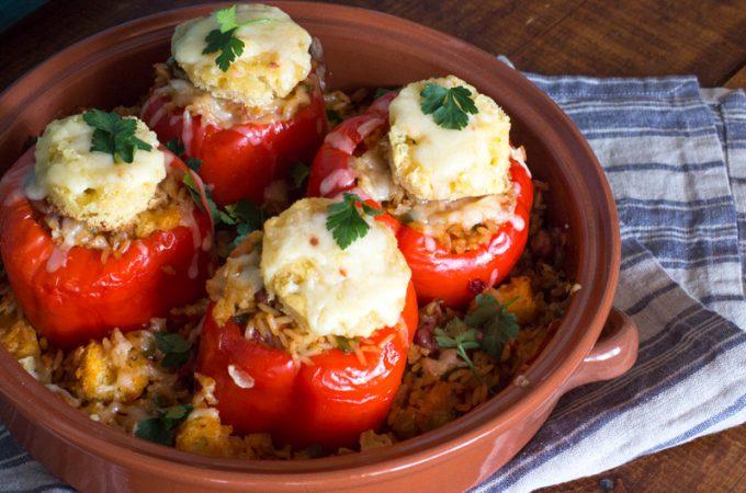 Vegetarian Jambalaya Stuffed Red Peppers Casserole | #SundaySupper