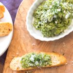Mashed fava beans with mint on crostini for a perfect appetizer - from the Vegetable Butcher cookbook.