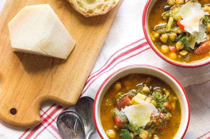 Italian chickpea stew loaded with poblano and red peppers, stewed tomatoes, and Swiss chard.