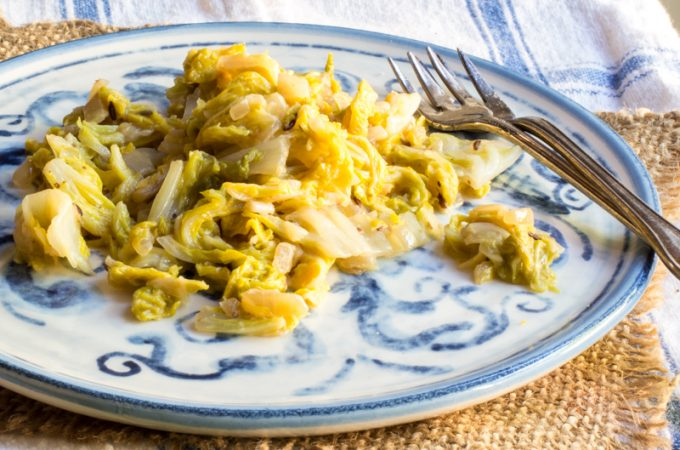 Napa cabbage sauteed with onion and caraway seeds, braised in wine and broth, and finished with cream and mustard.