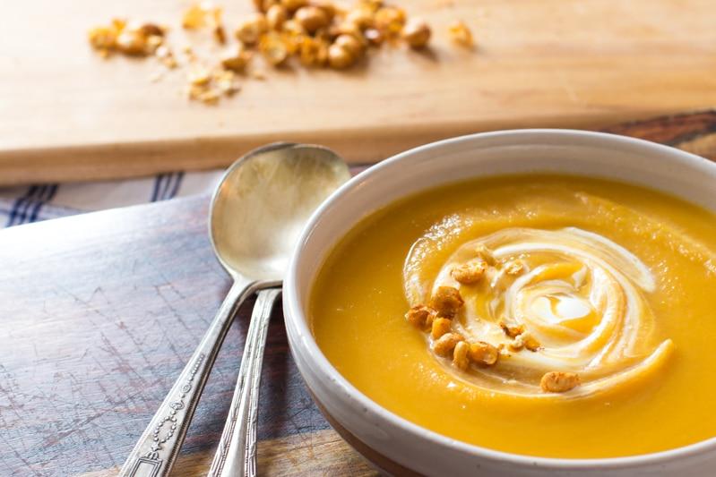 Healthy butternut squash soup with apple cider & crème fraîche.
