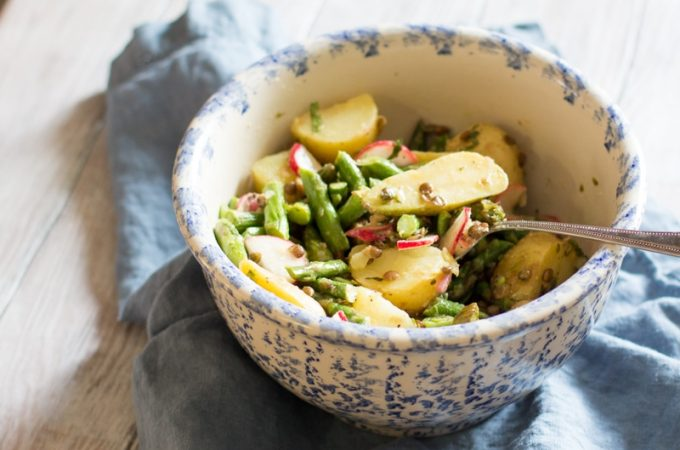 Asparagus and potato salad with lentils, mint and a lemon vinaigrette.