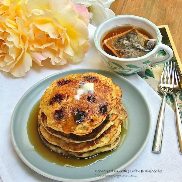 Cornbread pancakes with blackberries