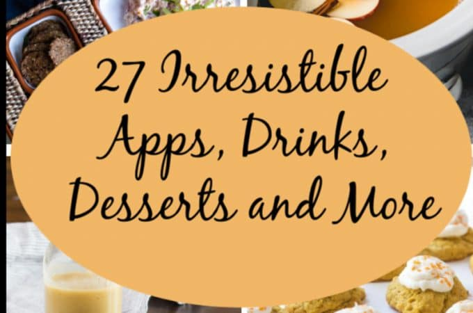 Round up of appetizers, cocktails, cider, breads and condiments you can make for your vegetarian Thanksgiving. This collection ends with some fabulous desserts, because dessert for Thanksgiving is mandatory.
