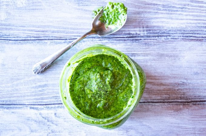 Easy lemony basil pesto ready in 10 minutes (or less, if you don't grate your own cheese). Vegan option included!