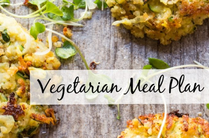 7-day vegetarian meal plan + tips for making some recipes vegan + ideas for what to serve omnivores at the table. Zucchini and Quinoa Fritters and Crispy Black Bean Burgers are featured.